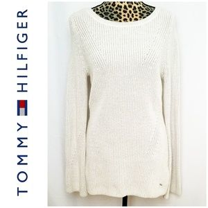Tommy Hilfiger White w/Silver Thread Sweater